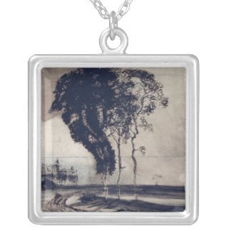 Landscape with Three Trees, 1850 Silver Plated Necklace