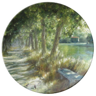 Landscape with to path close to to river poster porcelain plates