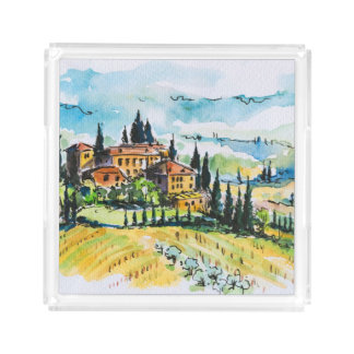 Landscape with town and cypress trees