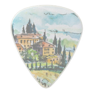 Landscape with town and cypress trees acetal guitar pick
