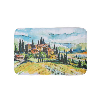 Landscape with town and cypress trees bath mat