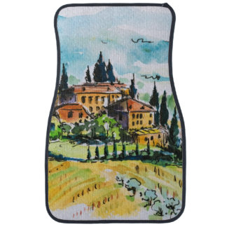 Landscape with town and cypress trees car mat