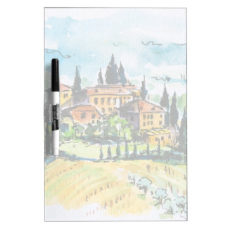 Landscape with town and cypress trees dry erase board