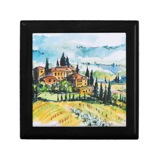 Landscape with town and cypress trees gift box