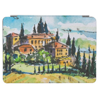 Landscape with town and cypress trees iPad air cover