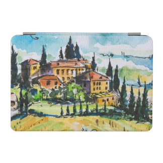 Landscape with town and cypress trees iPad mini cover