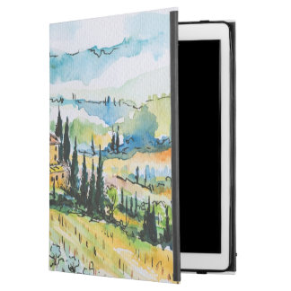 """Landscape with town and cypress trees iPad pro 12.9"""" case"""