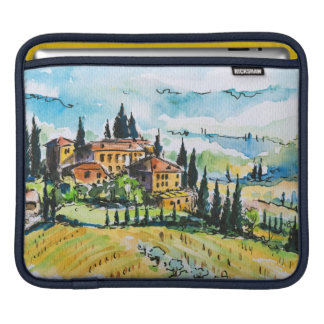 Landscape with town and cypress trees iPad sleeves