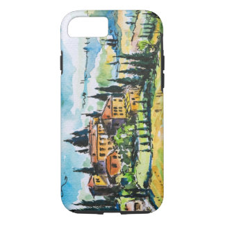 Landscape with town and cypress trees iPhone 8/7 case