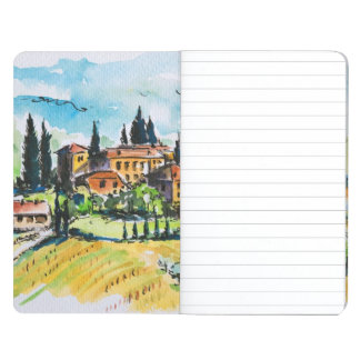 Landscape with town and cypress trees journal