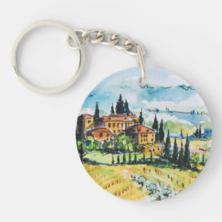 Landscape with town and cypress trees key ring