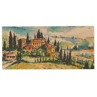 Landscape with town and cypress trees wood USB 2.0 flash drive