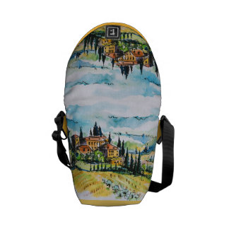 Landscape with town and cypress trees messenger bag