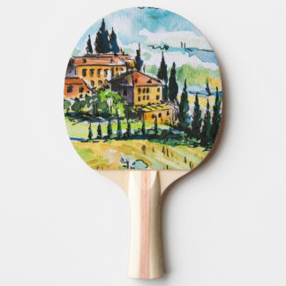 Landscape with town and cypress trees ping pong paddle