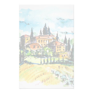 Landscape with town and cypress trees stationery