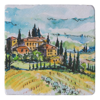 Landscape with town and cypress trees trivet