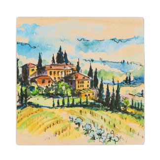Landscape with town and cypress trees wood coaster