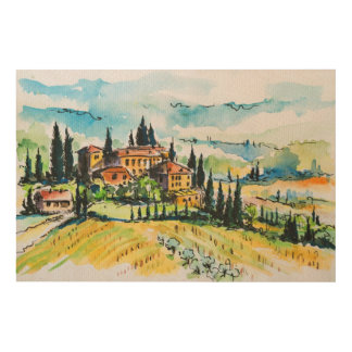 Landscape with town and cypress trees wood wall decor