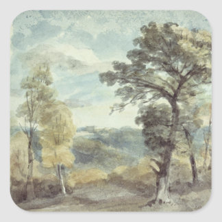 Landscape with Trees and a Distant Mansion Square Sticker
