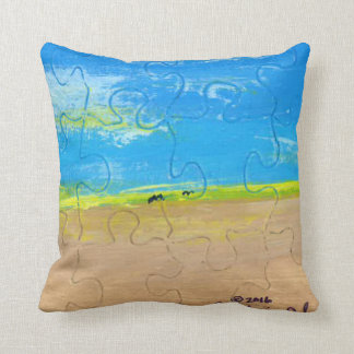 Landscape with two birds. cushion