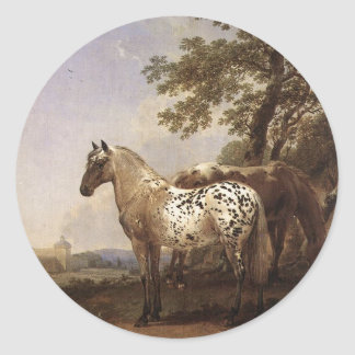 Landscape with Two Horses Classic Round Sticker