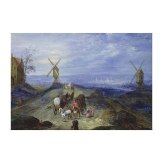 Landscape with Two Windmills, 1612 Canvas Print