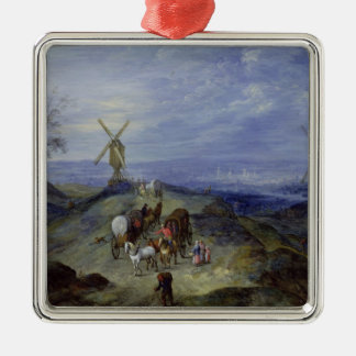 Landscape with Two Windmills, 1612 Christmas Ornament