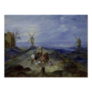 Landscape with Two Windmills, 1612 Poster