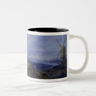 Landscape with Two Windmills, 1612 Two-Tone Coffee Mug
