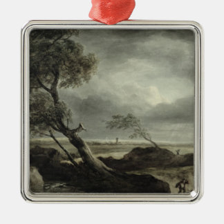 Landscape with Village: Stormy Effect Christmas Ornament