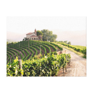 Landscape with vineyards and church canvas print
