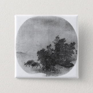 Landscape with water buffalo, Song Dynasty 15 Cm Square Badge