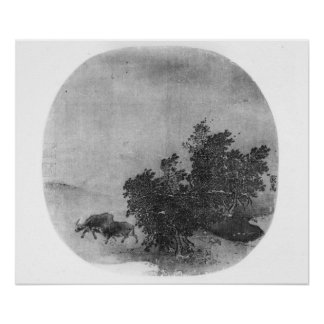 Landscape with water buffalo, Song Dynasty Poster