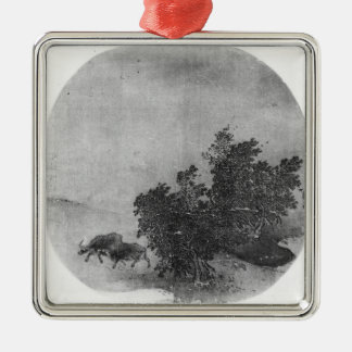 Landscape with water buffalo, Song Dynasty Silver-Colored Square Decoration