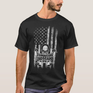 Landscaper American Flag Skull and Grass Trimmers T-Shirt