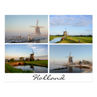 Landscapes with windmills in Holland postcard