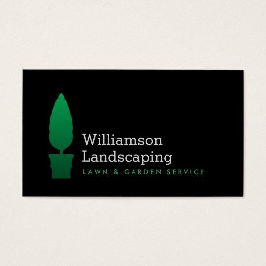 Landscaping, Gardening Green Topiary Logo II Business Card
