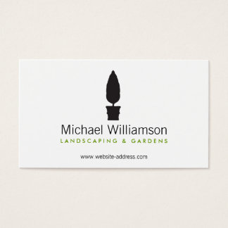 landscaping gardening topiary logo business card - Garden Design Business Cards