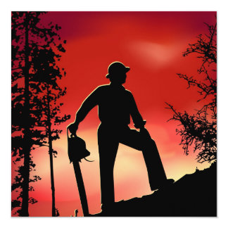 Landscaping Worker 13 Cm X 13 Cm Square Invitation Card