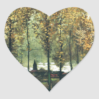 Lane with Poplars painting by Vincent Van Gogh Heart Sticker