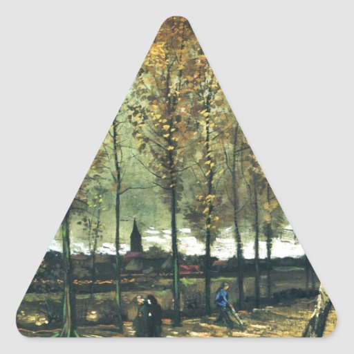 Lane with Poplars painting by Vincent Van Gogh Triangle Sticker