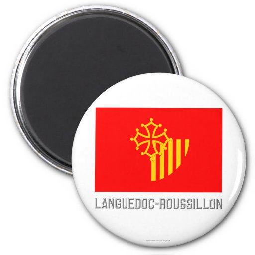 Languedoc-Roussillon flag with name Fridge Magnet