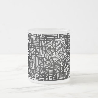 Languell Abstract Expression Black and White Frosted Glass Mug