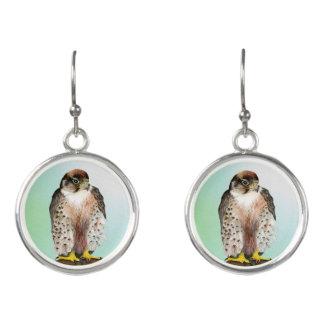 Lanner Falcon Bird Watercolor Falco biarmicus Earrings