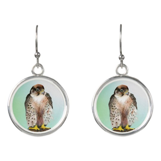 Lanner Falcon Bird Watercolor Falco biarmicus Earrings