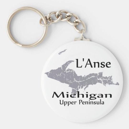 L'Anse Michigan Map Design Keychain