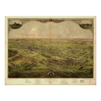 Lansing Michigan 1866 Antique Panoramic Map Poster