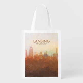 Lansing, Michigan Skyline IN CLOUDS Reusable Grocery Bag