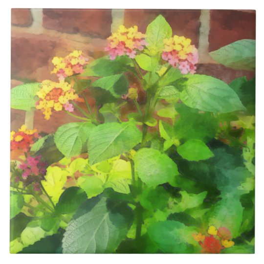 Lantana Against Brick Wall Large Square Tile