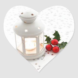 Lantern and Holly. Heart Sticker